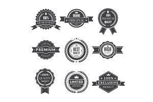 Vintage template of monochrome premium labels for guarantee bestseller and others. Vector stickers