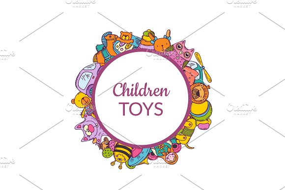 Vector Illustration With Sketched Toys Under Framed Circle With Shadow And Place For Text