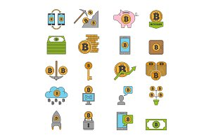 Bitcoin and other symbols of crypto industry. Mining different coins
