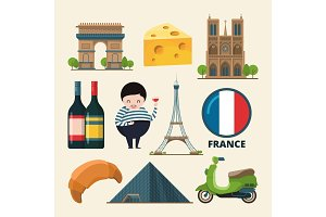 Collection set of france landmarks. Vector icon set in cartoon style