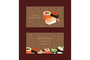 Vector business card templates in cartoon style for sushi restaurant or cooking lessons with wooden texture background