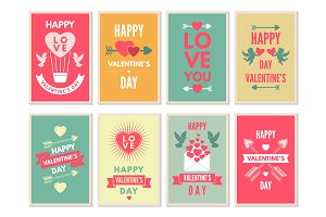 Retro cards for happy valentines day. Vector design template with place for your text