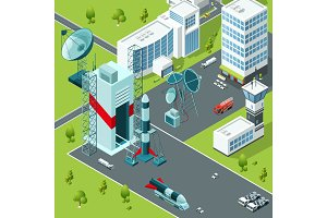 Launch pad of the spaceport. Isometric buildings