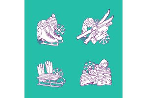 Vector hand drawn winter sports equipment piles set
