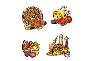 Vector colored hand drawn italian pizza, vegetables and cheese piles set