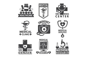 Pharmacy, chemistry or medicine labels set. Vector monochrome logos template
