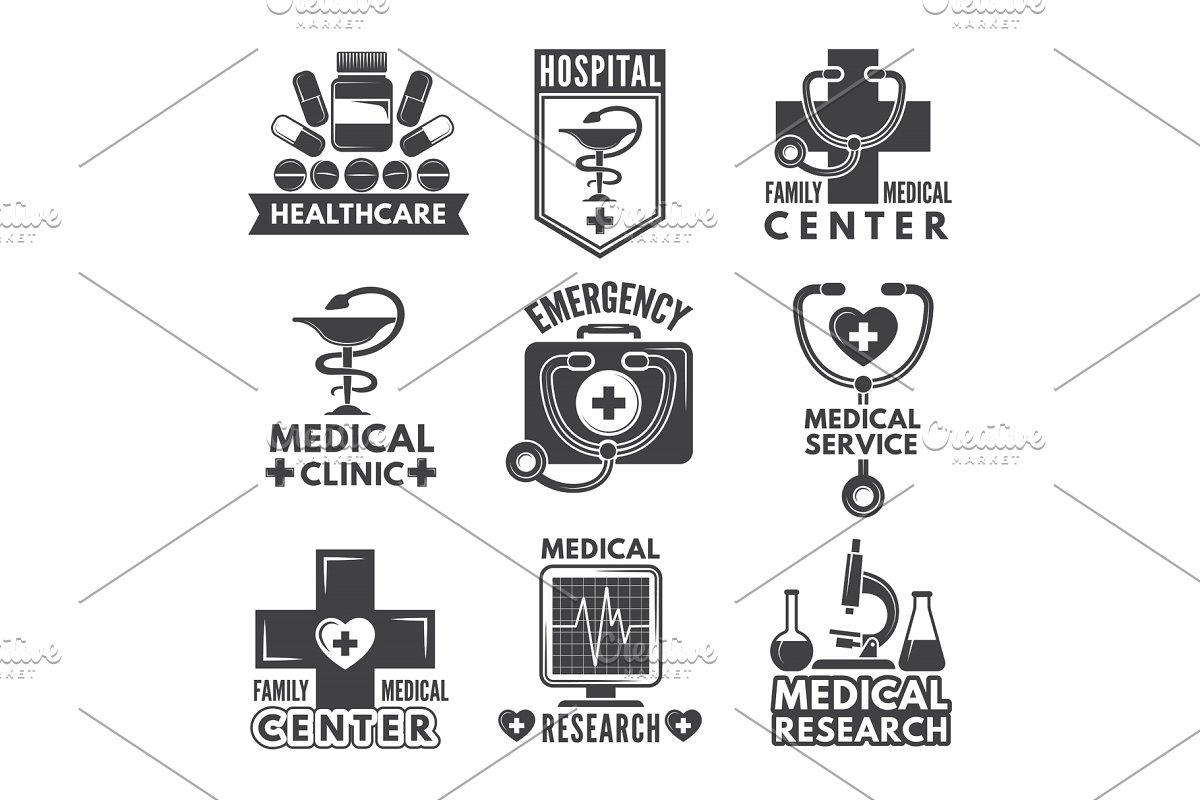 Pharmacy, chemistry or medicine labels set. Vector monochrome logos template
