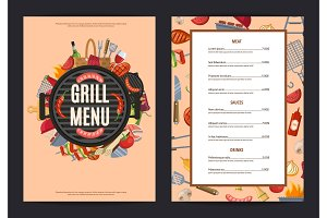 Vector barbecue or grill vertical menu template