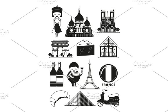 Monochrome illustrations of french landmarks. Vector pictures in cartoon style