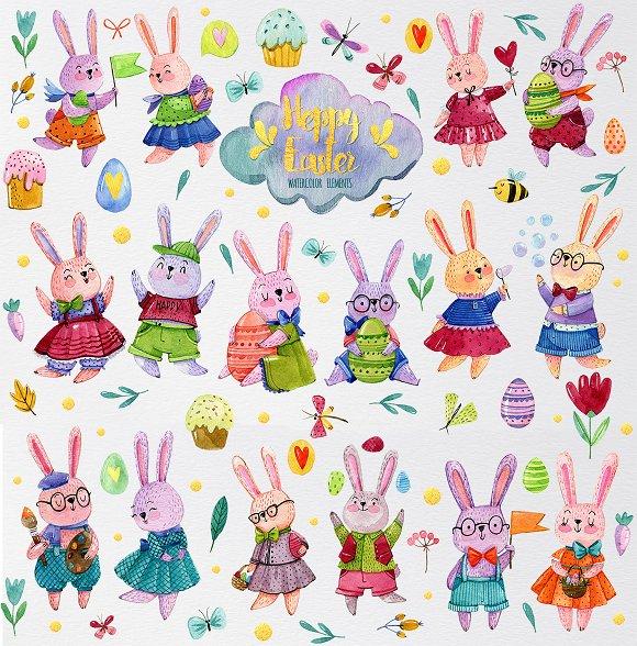 Watercolor easter rabbits.