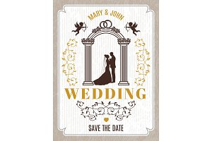 Retro poster or wedding card invitation. Vector design template with place for your text