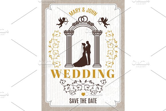 Retro poster or wedding card invitation. Vector design template with place for your text in Graphics