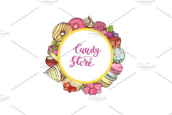 Vector Hand Drawn Colored Sweets Around Circle With Place For Text