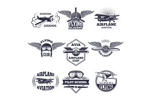 Labels at aircrafts theme. Vector monochrome illustrations of airplanes
