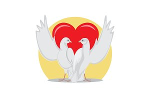 Two Doves Rise Wings Up on Background of Red Heart
