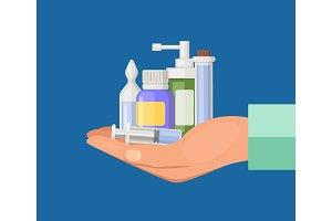 Vector cartoon hand keeping pile of medicines