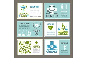 Different cards with designs template at theme of medicine and science