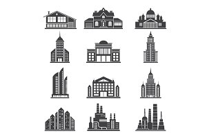 Monochrome silhouettes of different modern buildings and others municipal architecture objects