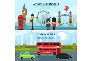 Urban landscape of london. Vector banners set