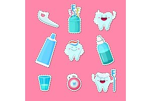 Vector cartoon teeth hygiene stickers isolated on plain background