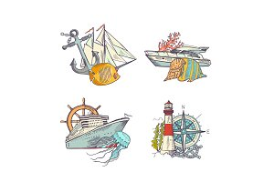 Vector sketched sea colored elements piles set