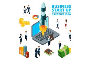 Concept illustration of starting business. Startup visualization. 3d isometric pictures