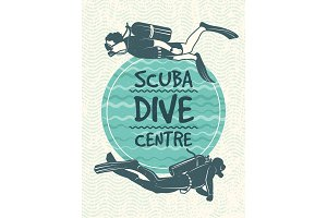Retro poster for sport club of diving. Vector design template