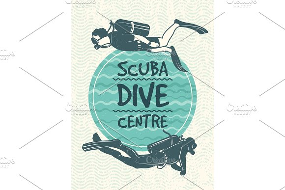 Retro Poster For Sport Club Of Diving Vector Design Template