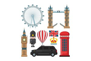 Vector collection set of london landmarks