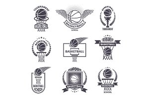 Sport labels for basketball club. Vector badges for champions