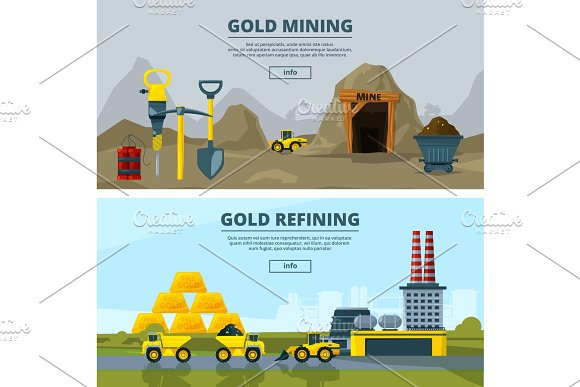 Vector Banners Set With Illustrations Of Mining Industry