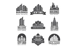 Labels or logos with pictures of different modern buildings