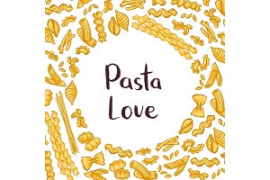 Vector pasta elements background illustration with plain space for text in center
