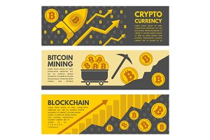 Horizontal banners with illustrations of bitcoin mining industry