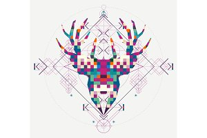 Animal head deer triangular pixel icon