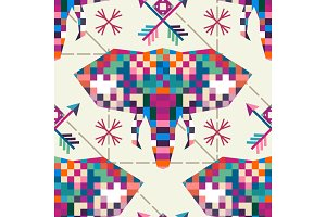 Animal head elephant triangular pixel icon