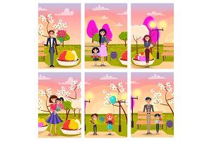 Cartoon Characters in Park with Gifts Illustration