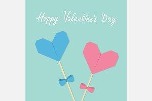 Happy Valentines Day Heart stick set