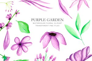 Purple flowers - watercolor clipart