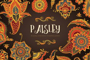 Paisley mehndi elements and patterns