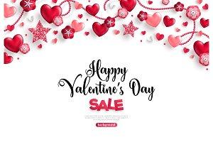 valentine's day sale horizontal border on white