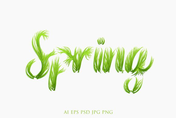 Vector Grass Spring Lettering