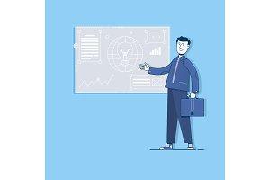 Project management, digital marketing.Flat vector illustration