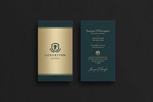 Elegant Green & Gold Business Card