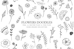 Flowers doodles - hand drawn