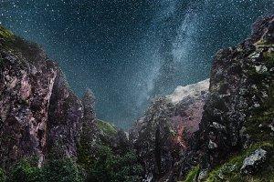 Milky Way On Mountain Background