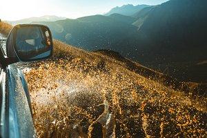 Car rides off-road