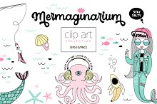 Whimsical underwater cliparts kit