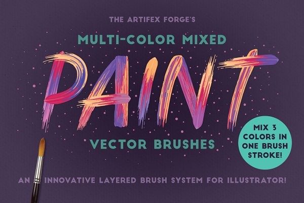 Multi-color, Mixed Paint Brushes
