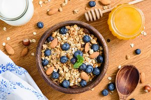 Granola bowl with blueberries